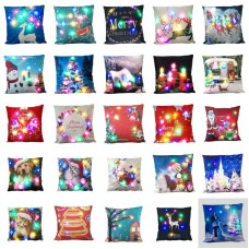 100Christmas LED lights Linen Pillow Case Cushion Cover Home Decor Bed Sofa Case   172974472415