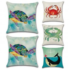 1PC Home Decor Marine Life Cushion Cover Cotton Linen Pillow Case Dolphin Crab   163202339672