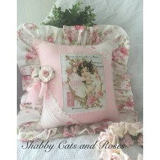 Lady~Cat~French Pillow~Vintage Buttons~Pink Millinery Rose~Linen Lace Hanky~   192627449171