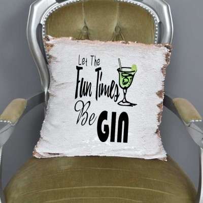 Let The Fun Times Be GIN Mermaid Sequin Cushion | Funny Gift | Alcohol Gifts   222883844026