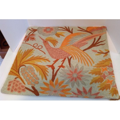 "Pottery Barn Beatrice Crewel Embroidered Pillow Cover 24"" Peacock Bird New wTags   173472478255"