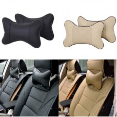 Universal Leather Auto Vehicle Car Head Neck Rest Breathe Pillow Cushion Pad   331900034564