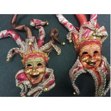 2 small authentic hand crafted Venetian masks with red and gold for wall hanging   173463218793