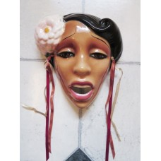 Clay Art Ceramic Face Wall Mask, Exotic Billie Holiday, Jazz Singer Wall Hanging   232884317899
