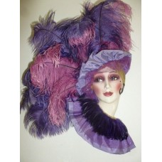 Clay Art Musical Mask Victorian Lady Purple Feathers   253803226513