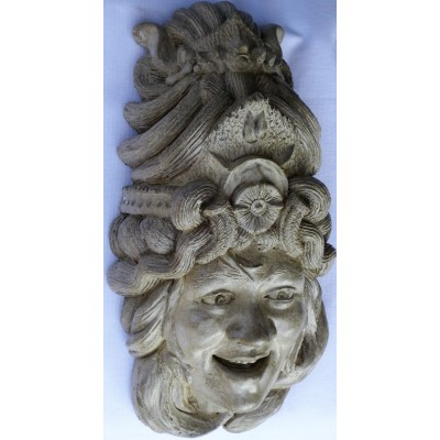 GODDESS OF HAPPINESS + LIGHT, STONE GARDEN & HOME HANGING SCULPTED MASK   262445966369