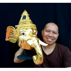 Ganesha god Mask Khon Handmade Thai traditional elephant head Art Free Shipping   331277304782
