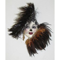 Unique Creations Kitty Cat Lady Face Mask Wall Hanging Decor   401575422712