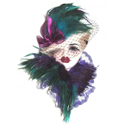 Unique Creations Lady Face Mask Wall Hanging Decor 5105   253788458581
