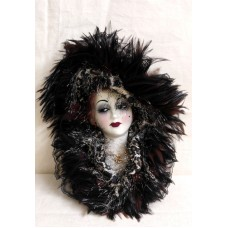 Unique Creations Porcelain Lady Mask Feathers Wall Hanging Decor Music Box ELISE   223101651015