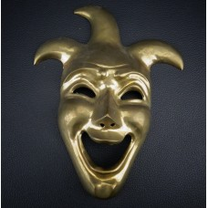 "Vintage Solid Brass Jester Comedy Mask Hanging Wall Decor Face Clown 8.5"" Tall   183355630917"