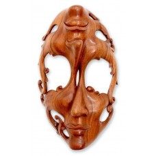 Wood Mask Sculpture Surreal Wall Art Hand Carved 'Joy and Sorrow' NOVICA Bali   362413189869