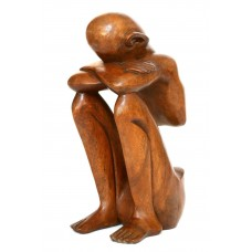 "12"" Wooden Abstract Sculpture Statue Hand Carved ""Resting Man"" Art Gift Decor   173257851279"