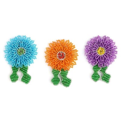 BEADWORX - ASTER FLOWER KEYRING - BEAD WORK GRASS ROOTS GLASS BEADS   321532341653