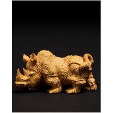 D074ca - 10X5X4  CM Carved Boxwood Carving Figurine : Powerful Rhino   163202172223