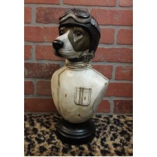 DOG Head BUST Tabletop Art Resin Decor Aviator Flying Airplane Retro Goggles FUN   332764136914