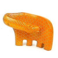 Handcrafted Large Giraffe Soapstone Sculpture in Orange - Smolart 640746010903  223034064214