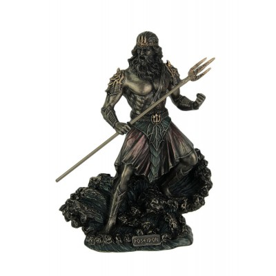 Metallic Bronze Finish Greek God Poseidon Statue   192561187816