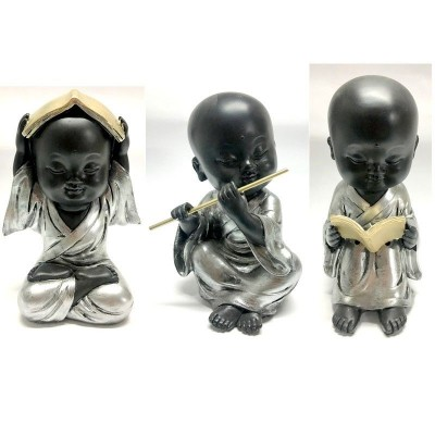 NEW Set of 3 17cm Cute Buddha Monks in Silver Robes Buddha Figures Home Decor   173320833755