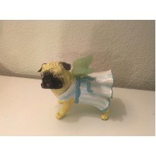 NIB Pug Dog Figurine Blue Dress Angel with Wings   173472505019