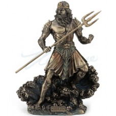 Poseidon Standing Holding Trident On Wave Statue Figurine Sculpture - GIFT BOXED 6944197136217  263562585322