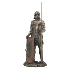 "Roman Soldier with Javelin And Shield Statue Sculpture Figurine 14"" Tall 6944197122487  201880141851"