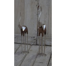 Set of 2 Elephants - Hand Carved Solid Wood & Metal - Graduated Size   391854329413