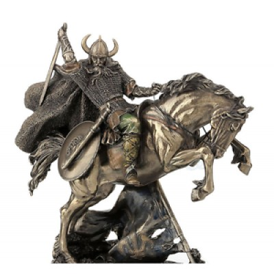 Viking On Rearing Horse Statue Sculpture Figurine *GREAT HOLIDAY GIFT! 6944197124757  192627386011