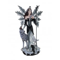 Zeckos Pagan Winter Forest Fairy W/ Wolf Familiar Statue 23 Inches Tall 608019193623  401536131554