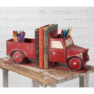 NEW Rustic Metal Red Truck Bookends Farmhouse   232874255144