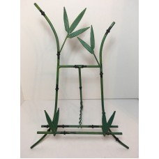 "Green Black Metal Easel Display Stand Bamboo Floral Leaf 15""   153115791447"