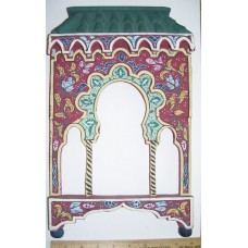 Hand Painted Wood Arabesque*Facade Trefoil Arches Frame Display Shadow Box   232760856747