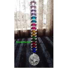 1 x crystal ball crackle glass beads rainbow chakra prism mobile suncatcher 30mm   173439819584