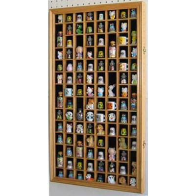 100 Thimble Display Case Cabinet Shadow Box, Glass door, Solid Wood   290608080282