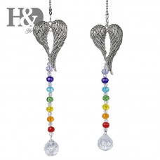2pcs Love Shaped Wings Crystal Ball Suncatcher Pendant Window Hanging Home Decor   392094133600