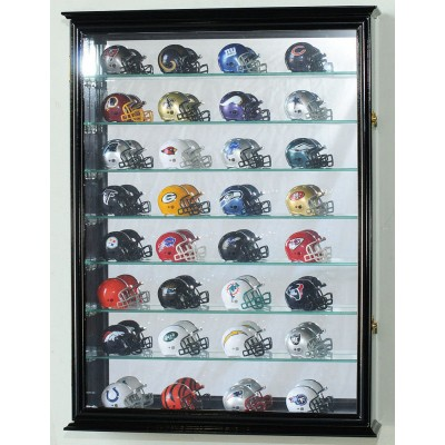 32-48 Pocket Pro Mini Helmet Cabinet Display Case w/Mirror Back & Glass Shelves    232354708490