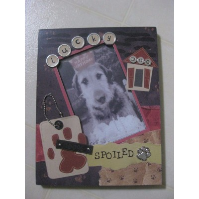 4x6 PET DOG FRAME / LUCKY DOG, 100% SPOILED / LOTS DETAIL / NEW   132744680447