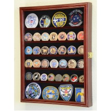 56 Challenge Coin Display Case Cabinet - Fully Adjustable Shelves - Larger Coins   232354701783