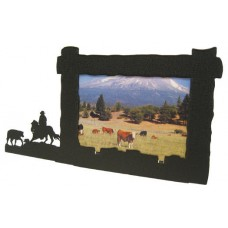 Cutting Horse black metal 4x6H picture frame   180301233785