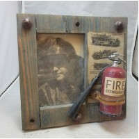Fireman theme picture frame. Wood & metal   223103239052