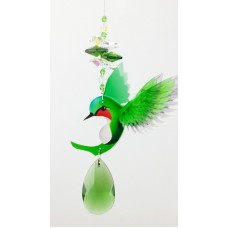 Green hummingbird crystal suncatcher, handmade gift window hanging pendant prism   221709137664