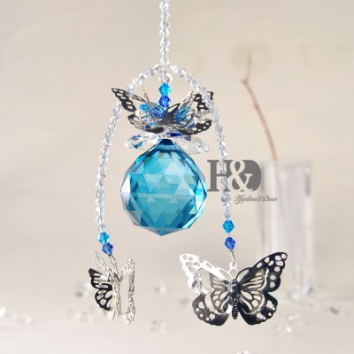 H&D Handmade Butterfly Crystal Ball Prism Pendant Hanging Suncatcher Home Decor   371273636344