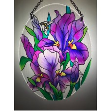 Joan Baker Hand Painted Art Glass Suncatcher-MO181R-Purple Irises Garden Bees    253758294211