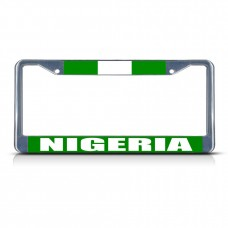 NIGERIA FLAG Metal License Plate Frame Tag Border Two Holes   322191262675