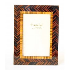 Natalini Photo Frame Dark Brown Wood Herringbone With Lighter Inner Border 4x6   362413751127