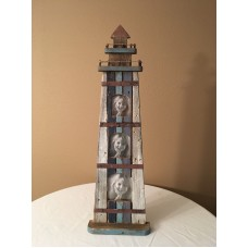"Nautical Lighthouse Photo Frame - 26"" Tall - 3 openings for photos - New   283104612609"