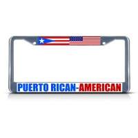 PUERTO RICAN AMERICAN Metal License Plate Frame Tag Border Two Holes   381701003654