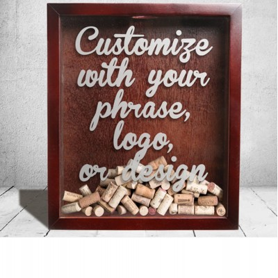 Personalize Your Own Etched Shadow Boxes! // Monogram Wine Cork Holder Gifts   331996239756