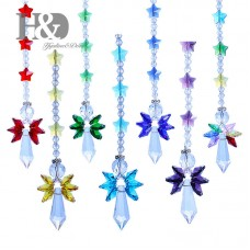 Set 7 Rainbow Crystal Guardian Angel Suncatcher Star Hanging Prisms Pendant Gift   372402810023