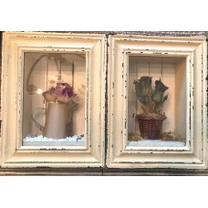 Set of 2 Hanging Shadowbox Pictures w/ Flowers Watering Can Wooden Beige Frame    283069689328